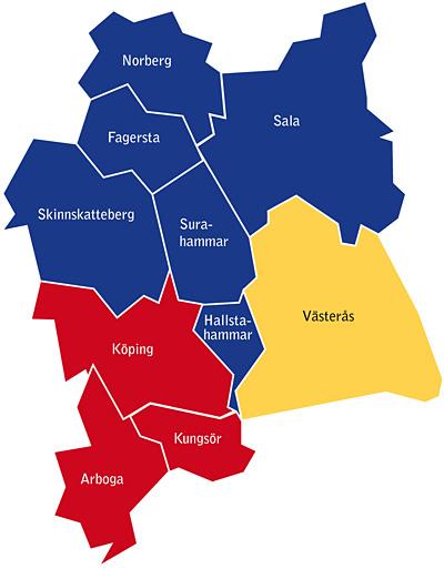 Karta över Västmanlands tre samordningsförbund.
